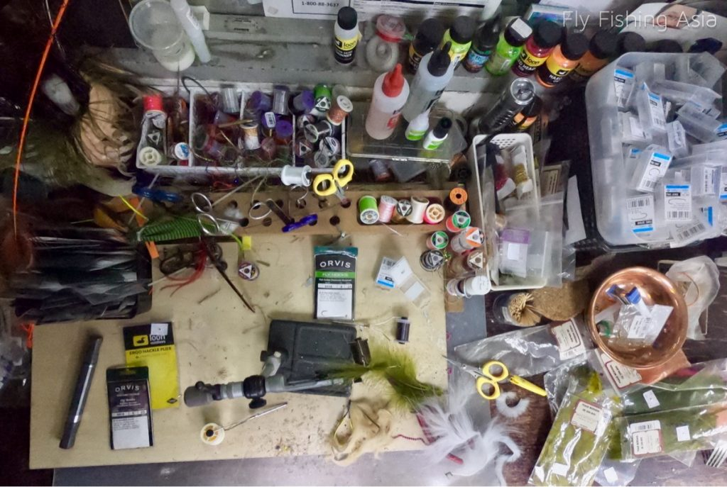 Top view of fly tying desk