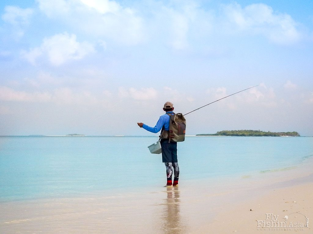 Fly fishing on Maldives flats with the Fishpond roll-top backpack