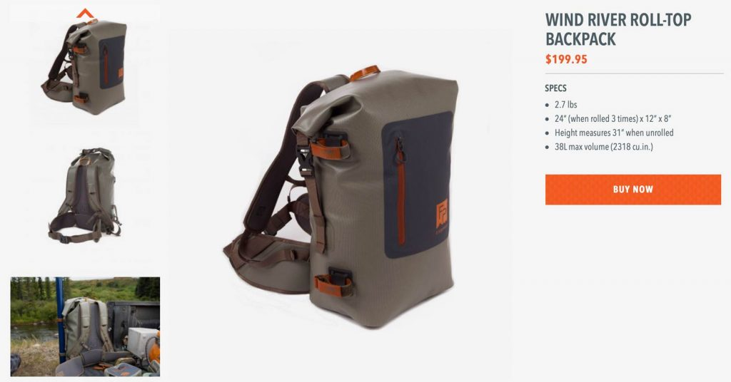 Fishpond wind river roll-top backpack specifications
