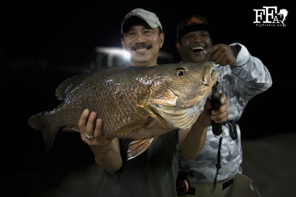 Steady Eddie is all smiles with the biggest mangrove jack yet estimated around 4kg